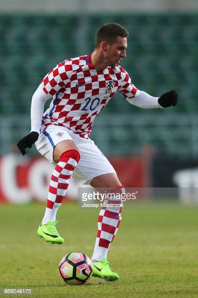 Marko Pjaca of Croatia controls the ball during international friendly between Estonia and Croatia at A le Coq Arena on March 28 2017 in Tallinn...