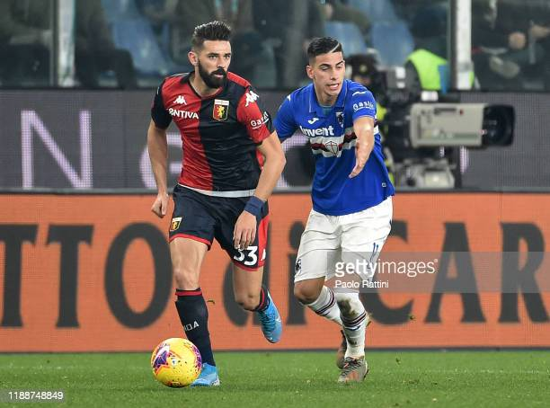 Marko Pjaca of Genoa CFC and Fabio Depaoli of UC Sampdoria compete for the ball during the Serie A match between Genoa CFC and UC Sampdoria at Stadio...