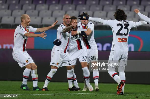 Marko Pjaca of Genoa CFC celebrates after scoring a goal during the Serie A match between ACF Fiorentina and Genoa CFC at Stadio Artemio Franchi on...