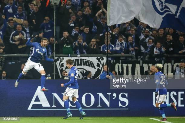 Marko Pjaca of Scalke celebrates with Bastian Oczipka after scoring his team's first goal to make it 10 during the Bundesliga match between FC...