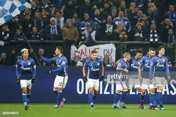 Marko Pjaca of Scalke celebrates with his team mates after scoring his team's first goal to make it 10 during the Bundesliga match between FC Schalke...