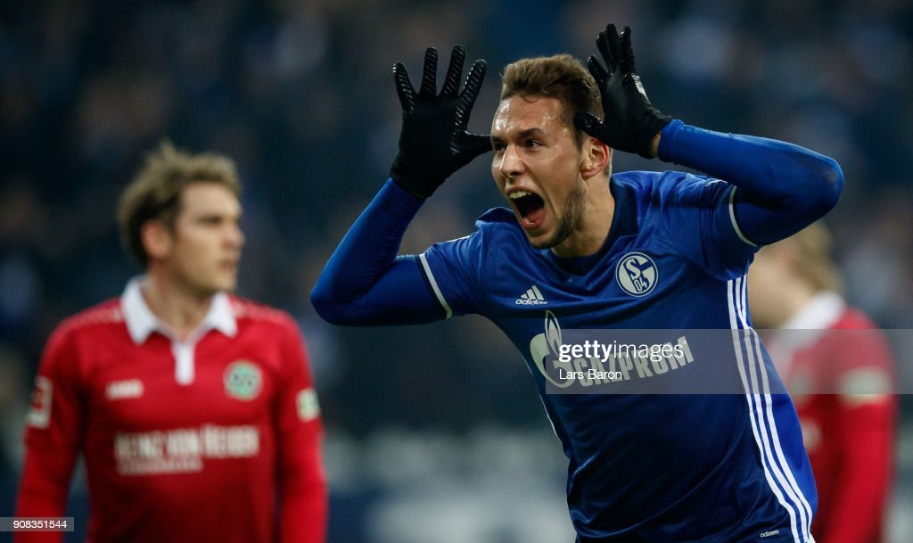 Marko Pjaca of Schalke celebrates after scoring his teams first goal during the Bundesliga match between FC Schalke 04 and Hannover 96 at Veltins-Arena on January 21, 2018 in Gelsenkirchen, Germany.