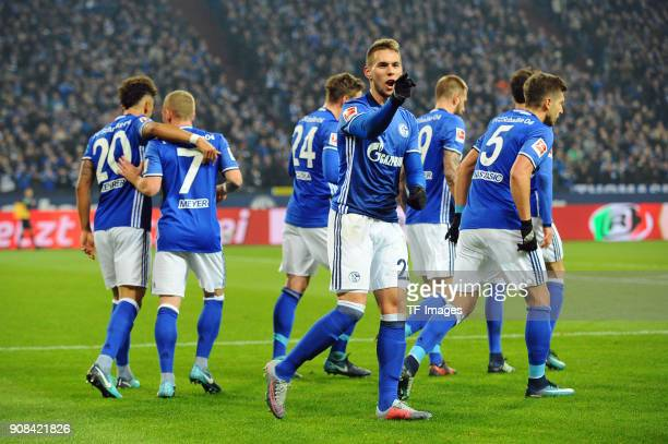 Marko Pjaca of Schalke celebrates after scoring his team`s first goal with team mates during the Bundesliga match between FC Schalke 04 and Hannover...