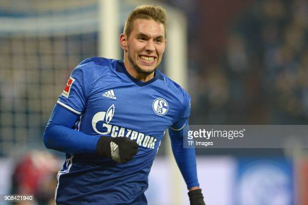 Marko Pjaca of Schalke celebrates after scoring his team`s first goal during the Bundesliga match between FC Schalke 04 and Hannover 96 at...