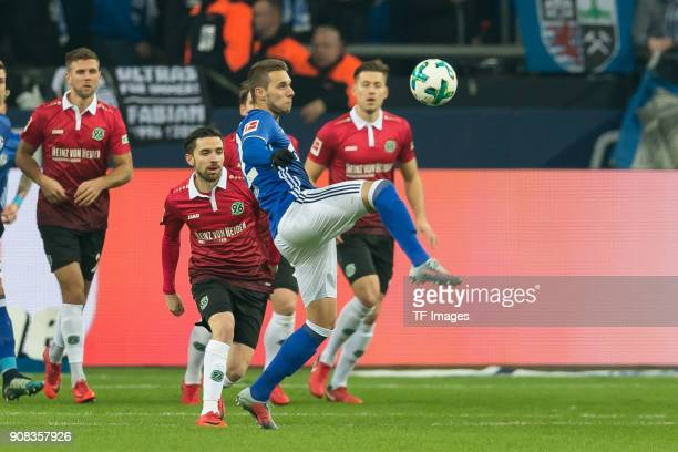 Marko Pjaca of Schalke controls the ball during the Bundesliga match between FC Schalke 04 and Hannover 96 at VeltinsArena on January 21 2018 in...