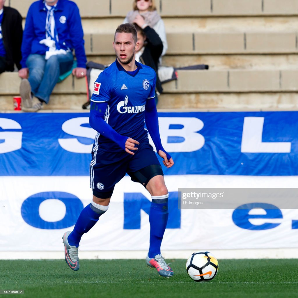 Marko Pjaca of Schalke controls the ball during the Friendly match between FC Schalke 04 and KRC Genk at Estadio Municipal Guillermo Amor on January 07, 2018 in Benidorm, Spain.