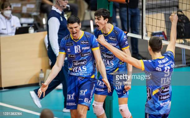 Marko Podrascanin, Allesandro Michiletto and Simone Giannelli of Itas Trentino during the Volleyball Champions League match between BERLIN RECYCLING...