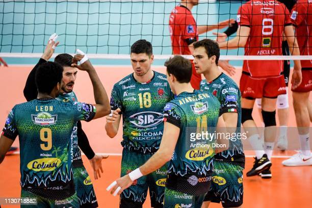 Marko Podrascanin and team of Perugia celebrate during the CEV Champions League match Chaumont 52 and SIR Safety Perugia on March 14 2019 in Reims...