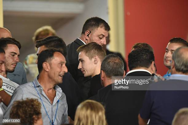 Marko Rog in the stands during the Serie A match between Napoli v Milan at San Paolo Stadium on August 27 2016 in Naples Italy