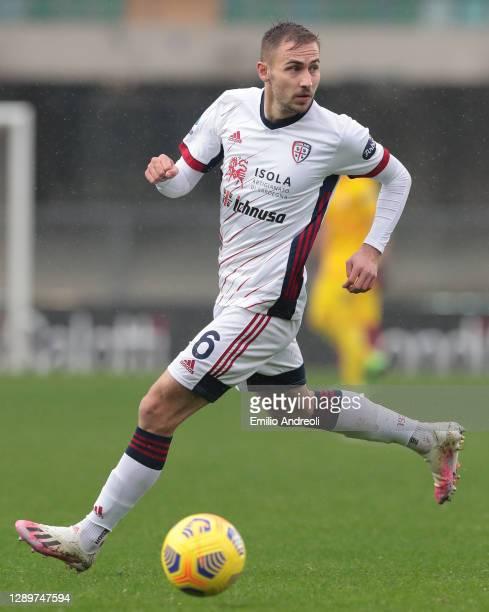 Marko Rog of Cagliari Calcio in action during the Serie A match between Hellas Verona FC and Cagliari Calcio at Stadio Marcantonio Bentegodi on...