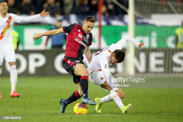 Marko Rog of Cagliari in action during the Serie A match between Cagliari Calcio and AS Roma at Sardegna Arena on March 1 2020 in Cagliari Italy