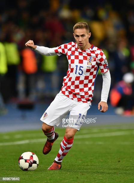 Marko Rog of Croatia controls the ball during the FIFA 2018 World Cup Qualifier Group I match between Ukraine and Croatia at Kiev Olympic Stadium on...