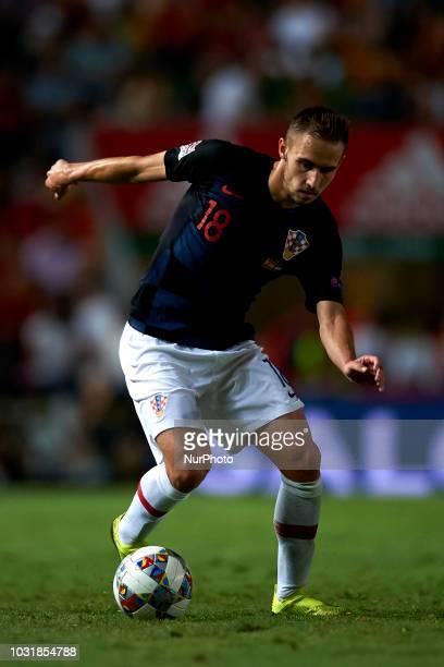 Marko Rog of Croatia during the UEFA Nations League football match between Spain and Croatia at Martinez Valero Stadium in Elche Spain on September...