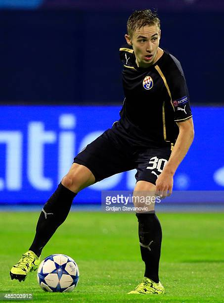 ZAGREB CROATIA AUGUST 25 Marko Rog of Dinamo Zagreb in action during the UEFA Champions League Qualifying Round Play Off Second Leg match between...