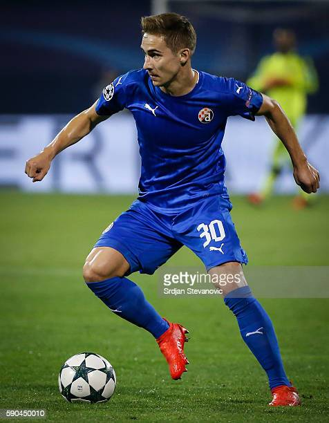 Marko Rog of Dinamo Zagreb in action during the UEFA Champions League Playoffs First leg match between Dinamo Zagreb and Salzburg at Stadion Maksimir...
