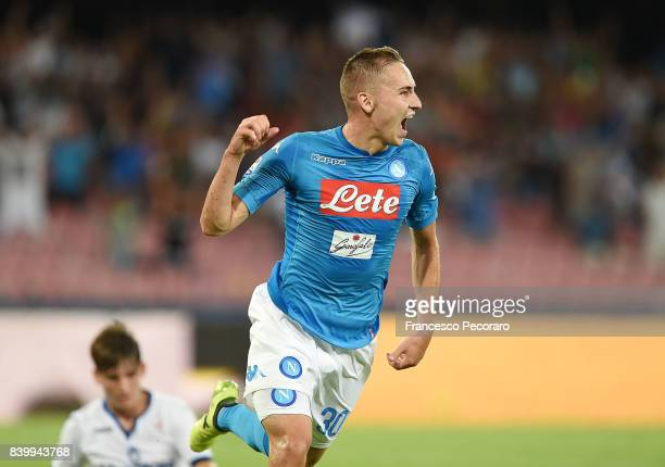 Marko Rog of SSC Napoli celebrates after scoring goal 31 during the Serie A match between SSC Napoli and Atalanta BC at Stadio San Paolo on August 27...
