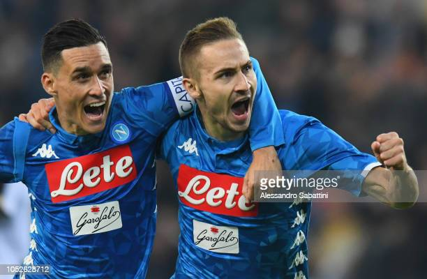 Marko Rog of SSC Napoli celebrates after scoring his team third goal during the Serie A match between Udinese and SSC Napoli at Stadio Friuli on...