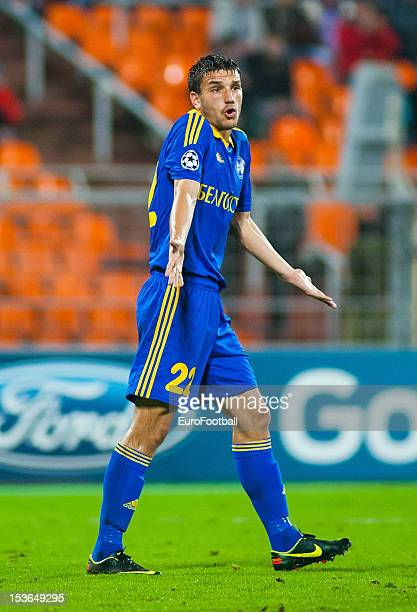 Marko Simic of FC BATE Borisov in action during the UEFA Champions League group stage match between FC Bayern Muenchen and FC BATE Borisov at the...