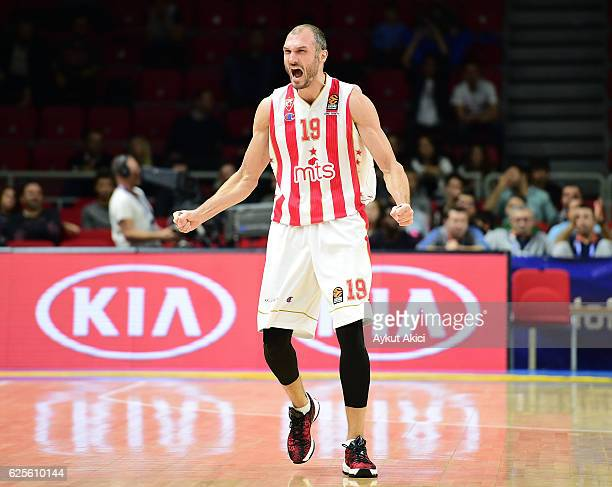 Marko Simonovic #19 of Crvena Zvezda mts Belgrade in action during the 2016/2017 Turkish Airlines EuroLeague Regular Season Round 9 game between...