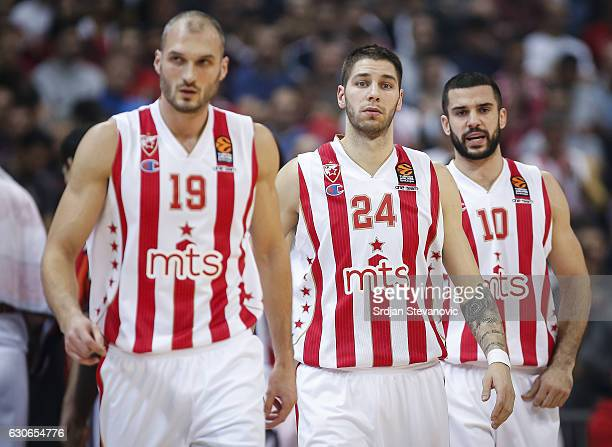Marko Simonovic Stefan Jovic and Branko Lazic of Crvena Zvezda look on during the 2016/2017 Turkish Airlines Euroleague Regular Season Round 15 game...