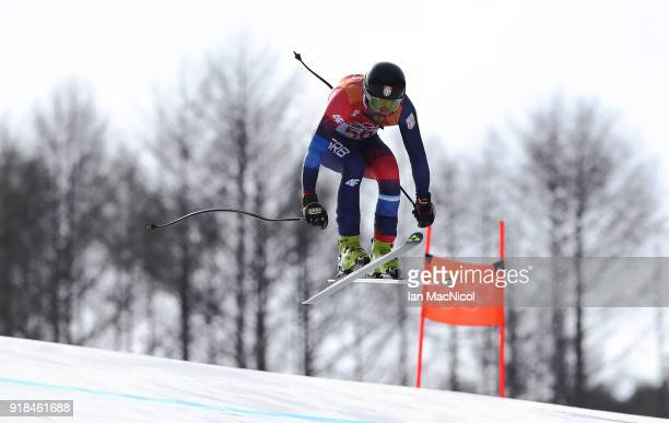 Marko Stevovic of Serbia competes in the Men's Downhill at Jeongseon Alpine Centre on February 15, 2018 in Pyeongchang-gun, South Korea.