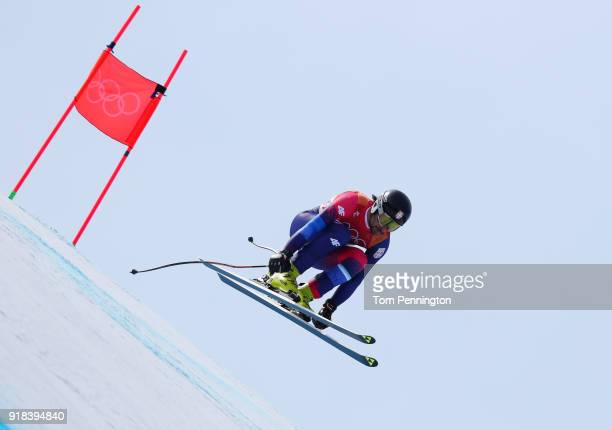 Marko Stevovic of Serbia makes a run during the Men's Downhill on day six of the PyeongChang 2018 Winter Olympic Games at Jeongseon Alpine Centre on...