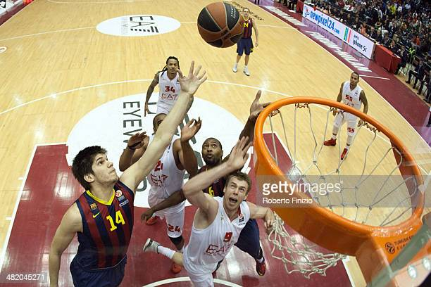 Marko Todorovic, #14 of FC Barcelona in action during the 2013-2014 Turkish Airlines Euroleague Top 16 Date 13 game between EA7 Emporio Armani Milan...