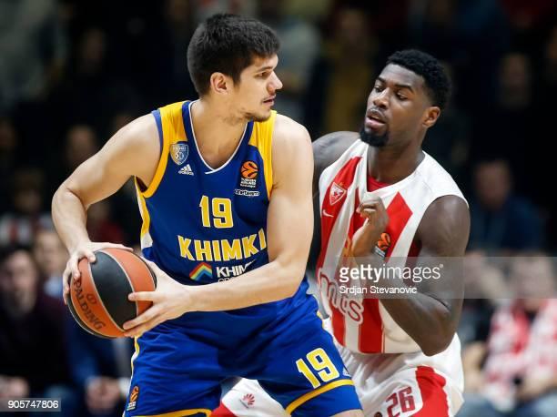 Marko Todorovic of Khimki in action against Mathias Lessort of Crvena Zvezda during the 2017/2018 Turkish Airlines EuroLeague Regular Season Round 18...