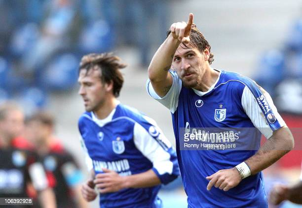 Marko Verkic of Magdeburg celebrates his teams first goal during the Regionalliga match between FC Magdeburg and Chemnitzer FC at the MDCC Arena on...