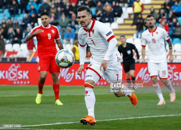 Marko Vesovic of Montenegro in action during the UEFA Nations League C group four match between Serbia and Montenegro at stadium Rajko Mitic on...