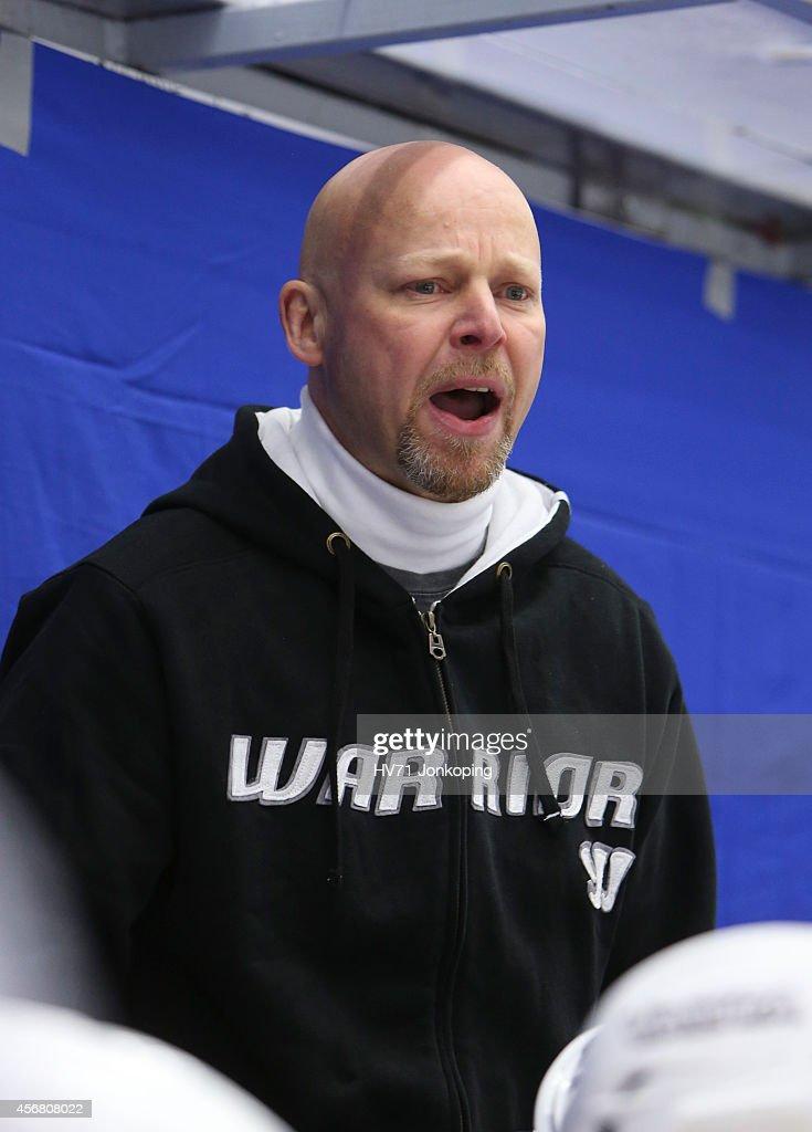 Marko Virtanen , headcoach coach of JYP Jyvaskyla during the Champions Hockey League group stage game between HV71 Jonkoping and JYP Jyvaskyla on October 7, 2014 in Jonkoping, Sweden.
