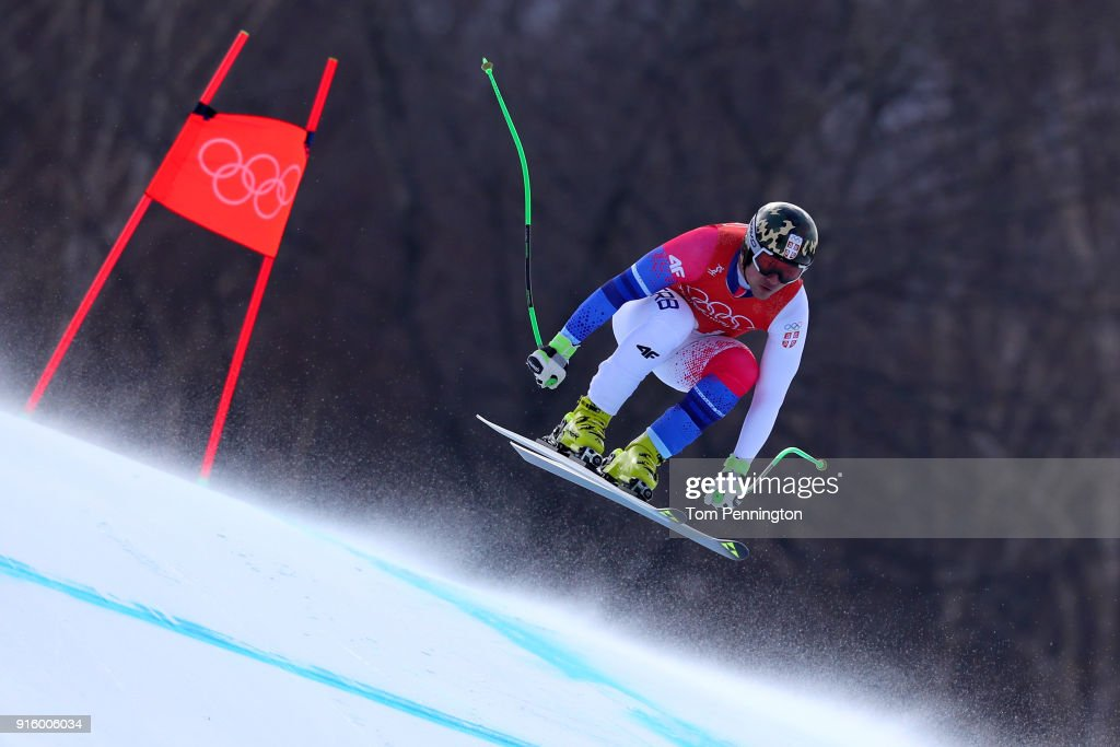 Marko Vukicevic of Serbia makes a run during the Men's Downhill Alpine Skiing training at Jeongseon Alpine Centre on February 9, 2018 in Pyeongchang-gun, South Korea.