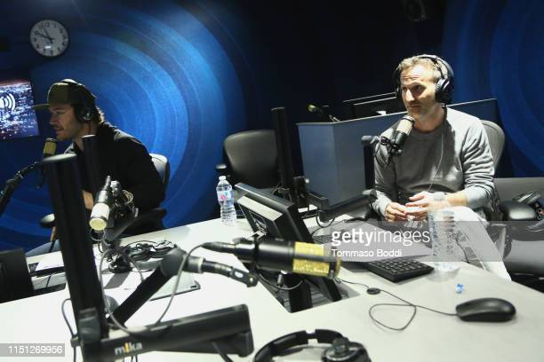 MarkPaul Gosselaar and Breckin Meyer visit the SiriusXM Studios In Los Angeles at SiriusXM Studios on May 23 2019 in Los Angeles California