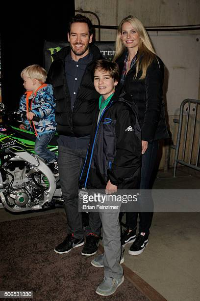 MarkPaul Gosselaar and family arrive at The Monster Energy Supercross at Angel Stadium of Anaheim on January 23 2016 in Anaheim California