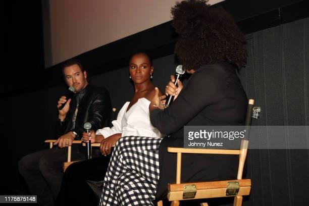 "Mark-Paul Gosselaar and Tika Sumpter speak onstage at the ""Mixed-ish"" New York Screening at Regal Battery Park Cinemas on September 19, 2019 in New..."