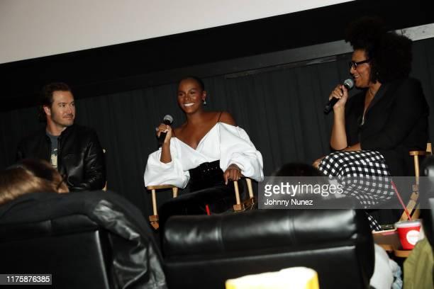 """Mark-Paul Gosselaar, Tika Sumpter, and Julee Wilson speak onstage at the """"Mixed-ish"""" New York Screening at Regal Battery Park Cinemas on September..."""