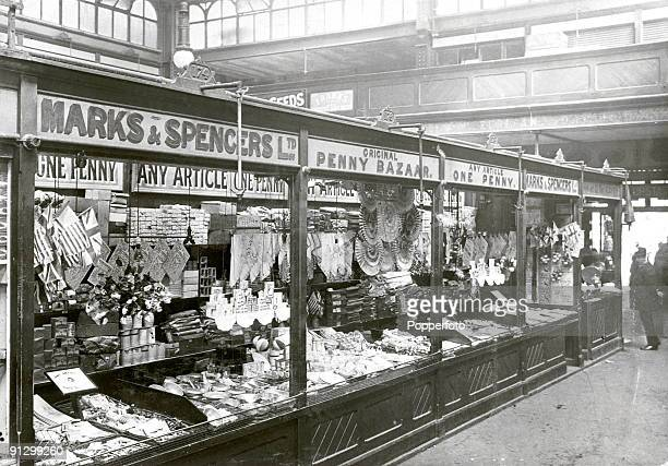 A Marks and Spencer Penny Bazaar in a covered market circa 1900