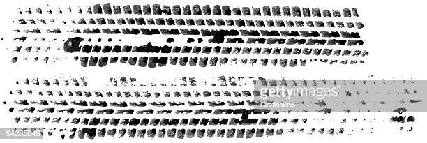 Marks of two tires on white background