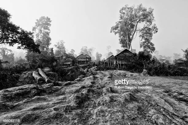 Marks on the road from the forest to the village show elephant steps and the dragging of heavy logs on January 28 2014 in Maing Hint Sal elephant...