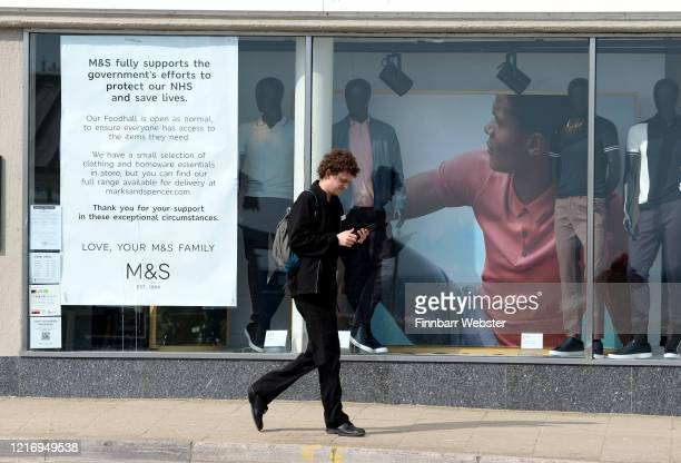 Marks Spencer shop front information notice on April 05 2020 in Weymouth United Kingdom The Coronavirus pandemic has spread to many countries across...