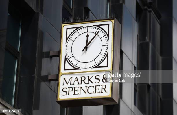 Marks & Spencer sign is displayed outside one of its store on May 27, 2021 in Leeds, England.