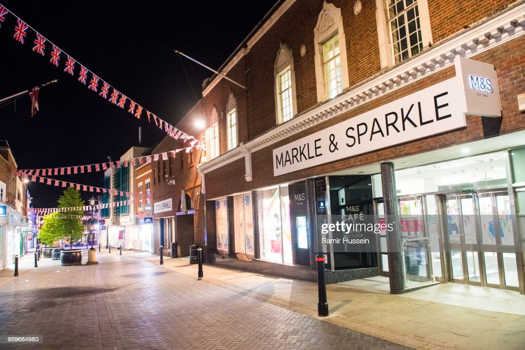 A Marks & Spencer store is seen with its name changed to 'Markle & Sparkle' ahead of the Royal wedding on May 17, 2018 in Windsor, England. Preparations continue in the town for the wedding between Prince Harry and Ms. Meghan Markle on May 19, 2018 when tens of thousands of well wishers will descend on the town just west of London to celebrate the couple's big day.