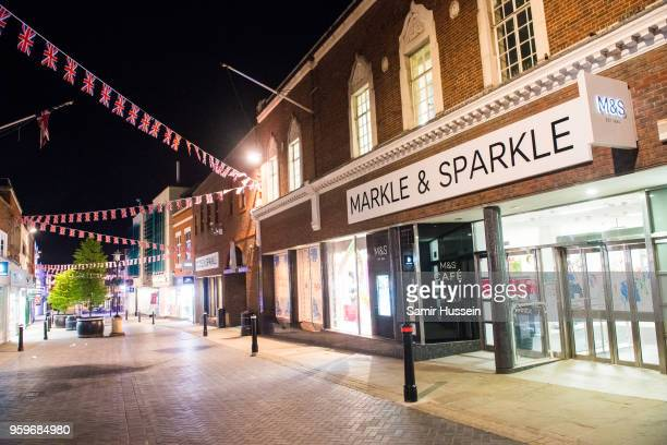 Marks Spencer store is seen with its name changed to 'Markle Sparkle' ahead of the Royal wedding on May 17 2018 in Windsor England Preparations...