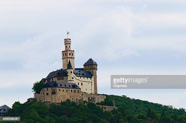 marksburg castle in braubach, germany - ogphoto stock pictures, royalty-free photos & images