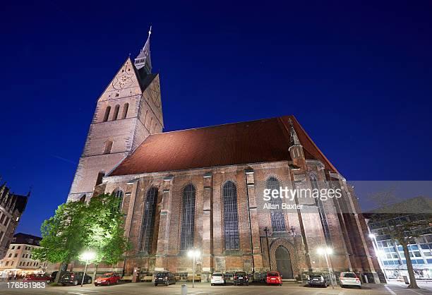 Marktkirche illuminated at night