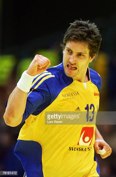 Markus Ahlm of Sweden celebrates after scoring a goal during the Men's Handball European Championship main round Group II match between Hungary and...