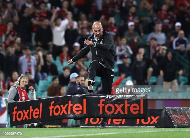 Markus Babbel coach of the Wanderers reacts after being shown a red card during the round two ALeague match between Sydney FC and Western Sydney...