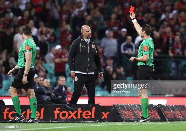 Markus Babbel coach of the Wanderers reacts after being shown a red card by referee Chris Beath during the round two ALeague match between Sydney FC...