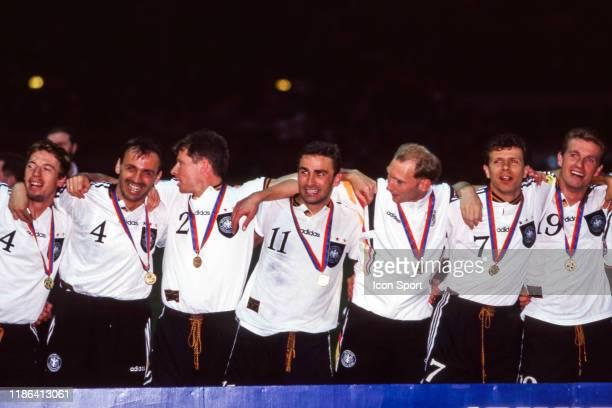 Markus Babbel Steffen Freund Stefan Reuter Stefan Kuntz Andreas Moller and Thomas Strunz of Germany celebrate their victory during the European...