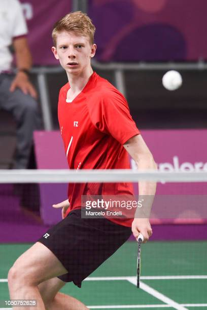 Markus Barth of Norway hits a return during the men's singles match against ArnaudSylvainAndre Merkle of France on day 1 of the Buenos Aires Youth...